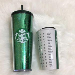 Two Starbucks Mercury Glitter Green & Crosswords